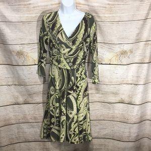 Ann Taylor sz 4 green black swirl v neck wrap 627